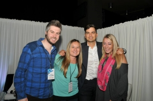 Hotness at Staples Center with Grammy nominee Andy Caldwell... (photo credit: Joey Wachs)