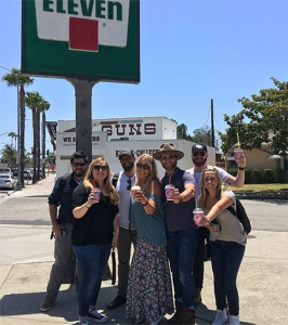 Stoppin at 7-Eleven for #FreeSlurpeeDay where Drake made a song up on the SPOT for a group of kids!