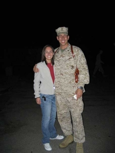 United States Marine Captain Alex Taylor with his cousin Producer Tasha.   We are very proud of you and love you very much!